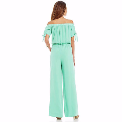 Short Sleeve Off Shoulder Basic Plain Jumpsuit