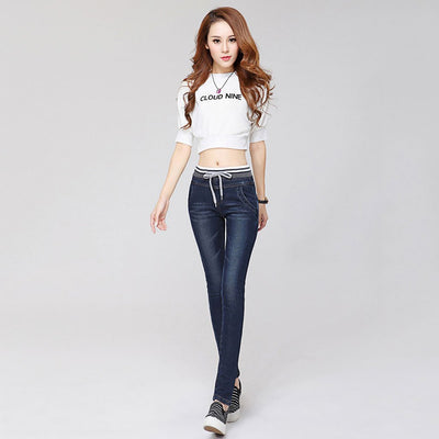 Medium Rise Drawstring Sporty Plain Jeans