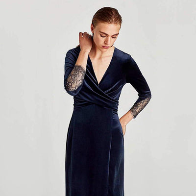 3/4 Length Sleeve Lace Luxe Plain Dress
