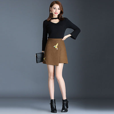 Regular Waist Applique Cute Tribal Embroidery Skirt