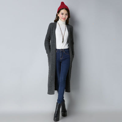 Long Sleeve Pockets Chic Plain Velvet Cardigan