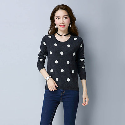 Long Sleeve Round Neck Cute Polka Dot Sweater