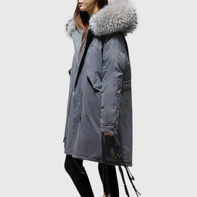 Long Sleeve Faux Fur Sporty Plain Parka