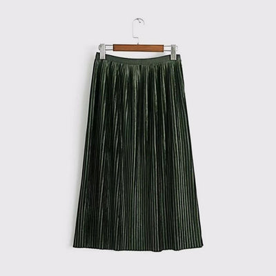 Regular Waist Bright Plain Pleated Midi Skirt