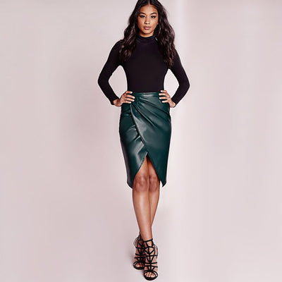 Regular Waist Ruched Sexy Plain Skirt
