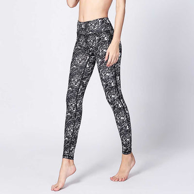 Regular Waist Skinny Fit Abstract Print Running Leggings