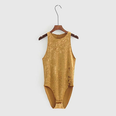 Sleeveless Round Neck Luxe Plain Bodysuit