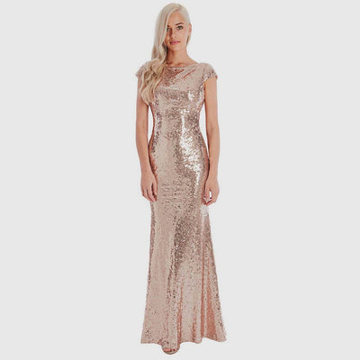Cap Sleeve Sequin Sparkly Plain Gown