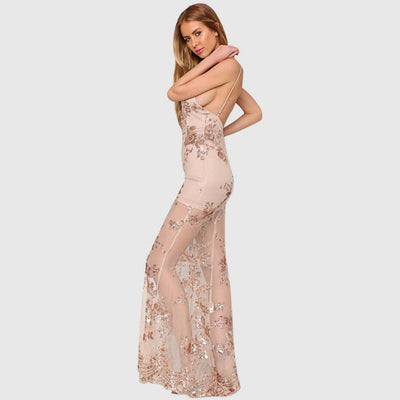 Sleeveless Sequin Stunning Floral Embroidery Gown