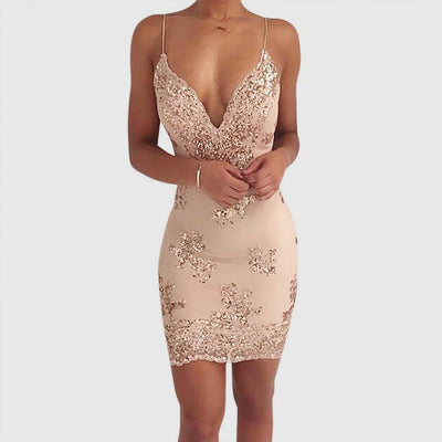 Sleeveless Sequin Sexy Plain Dress