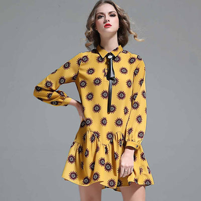 Cuff Sleeve Bow Cute Floral Print Dress