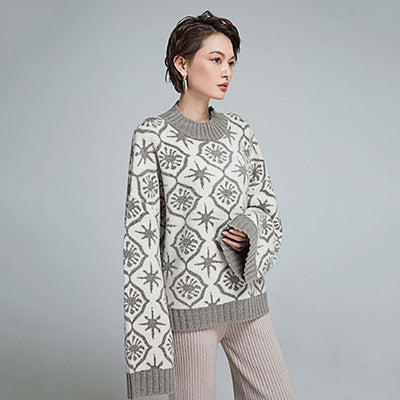 Bell Sleeve Round Neck Cozy Tribal Print Sweater