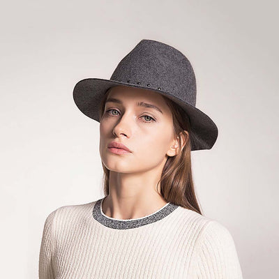 Studded Classic Plain Trilby Hat