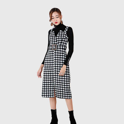 Sleeveless Belted Chic Plaid Dress