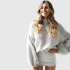 Puff Sleeve Turtle Neck Cozy Plain Sweater