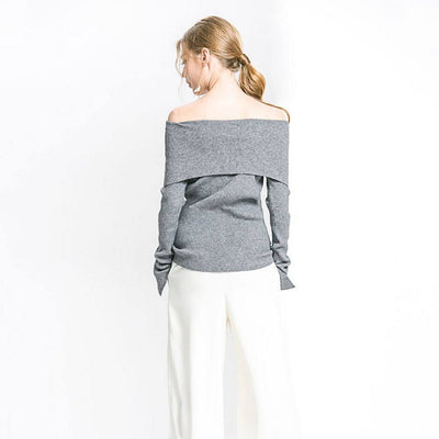 Long Sleeve Off Shoulder Basic Plain Sweater