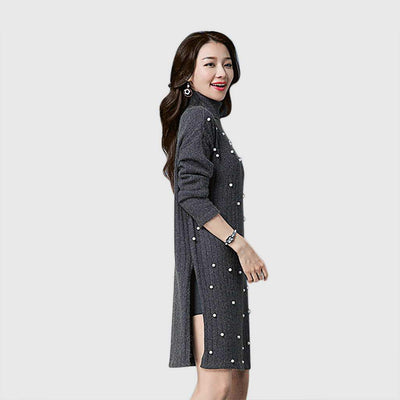 Long Sleeve Pearl On-Trend Plain Dress