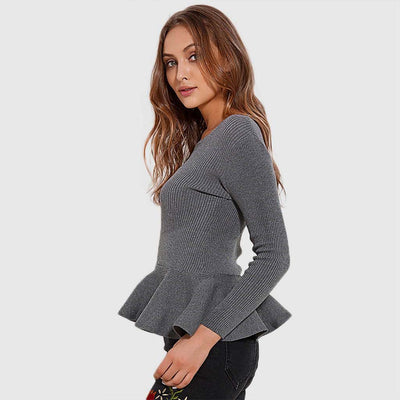 Long Sleeve Boat Neck Chic Plain Sweater