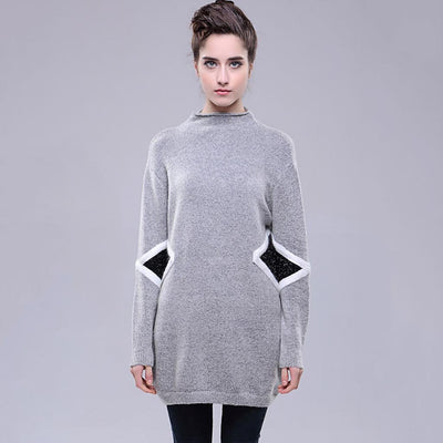 Long Sleeve High Neck Modern Geometric Print Dress