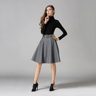 Regular Waist Belted Cool Plain Skirt