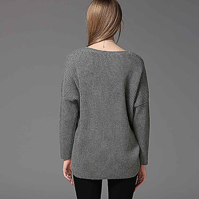 Long Sleeve V Neck Basic Plain Sweater