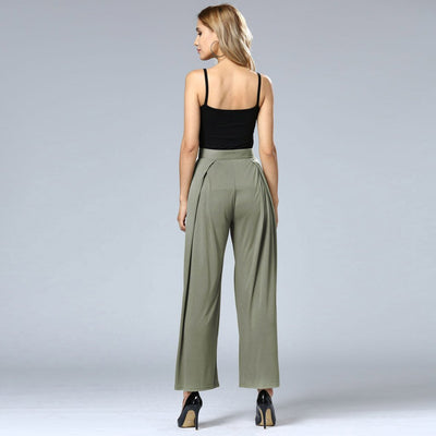 High Rise Wide Leg Flattering Plain Pants