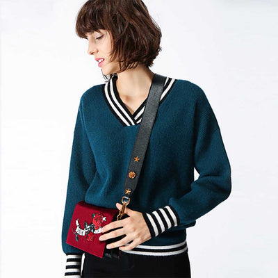 Cuff Sleeve V Neck Sporty Striped Sweater