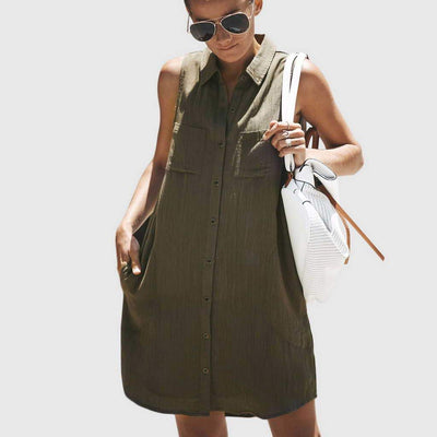 Sleeveless Shirt Collar Buttons Shift Short Dress