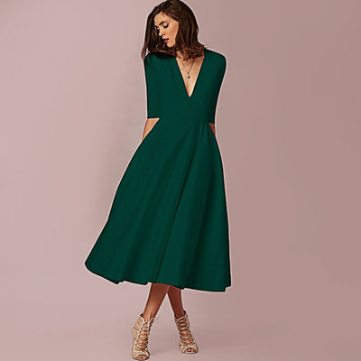 Half Sleeve V Neck Chic Plain Dress