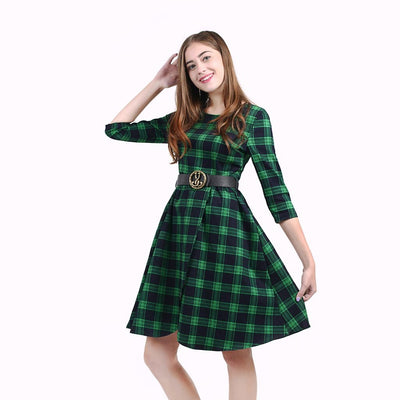 Half Sleeve Round Neck Retro Plaid Dress
