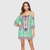 3/4 Length Sleeve Off Shoulder Hippy Tribal Print Dress