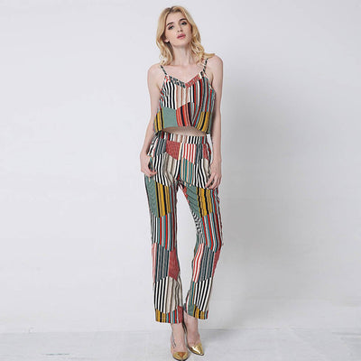 Sleeveless Spaghetti Strap Modern Striped Jumpsuit