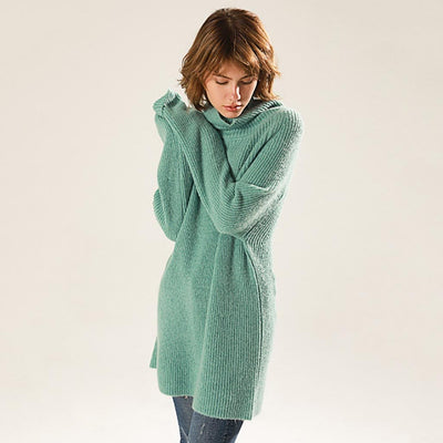 Long Sleeve Cowl Neck Cozy Plain Sweater