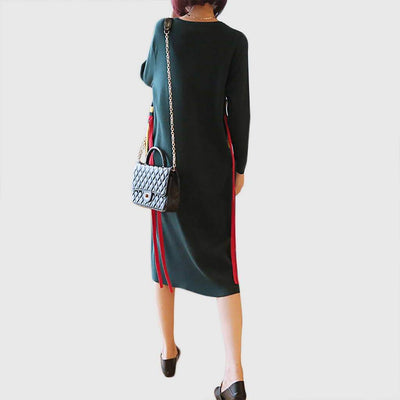 Long Sleeve Pockets Funky Color Block Dress