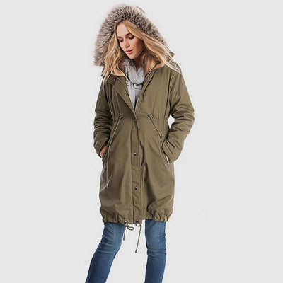Long Sleeve Faux Fur Urban Plain Parka