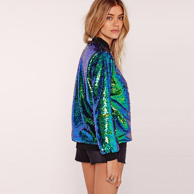 Cuff Sleeve Sequin Sparkly Plain Bomber Jacket
