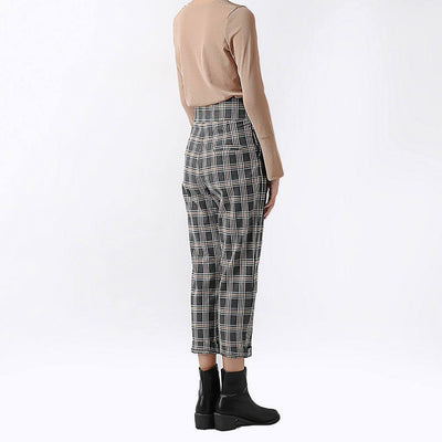 High Waist Button Smart Plaid Pants