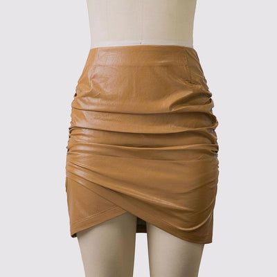 Regular Waist Ruched Sexy PU Leather Plain Skirt