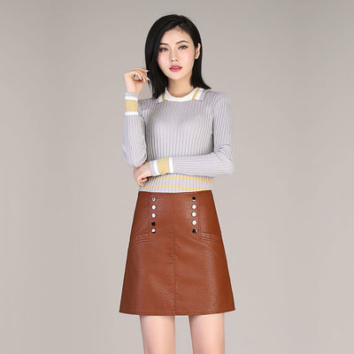 Regular Waist Studded Retro Plain Skirt