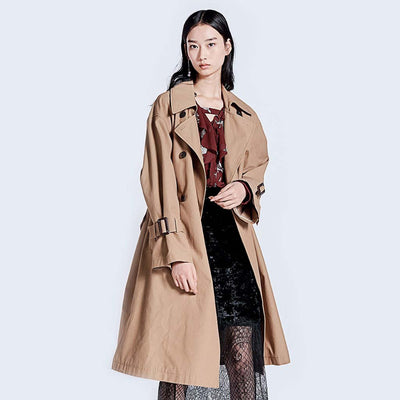 Long Sleeve Belted Classic Plain Trench Coat