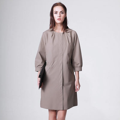 3/4 Length Sleeve Round Neck Edgy Plain Coat