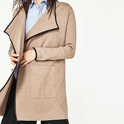Long Sleeve Lapels Classic Plain Jacket