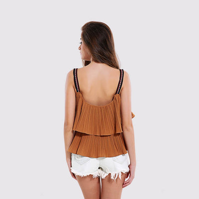 Sleeveless Tasseled Cute Plain Camisole