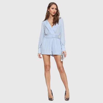 Puff Sleeve Pockets Feminine Plain Playsuit