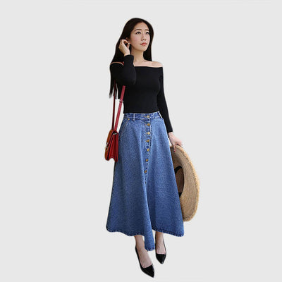 Regular Waist Button Classic Plain Skirt