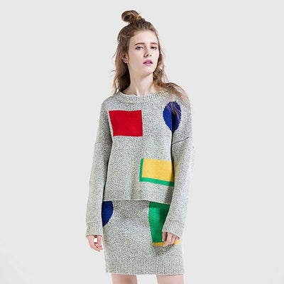 Long Sleeve Round Neck Funky Geometric Print Sweater