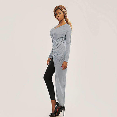 Long Sleeve V Neck Knotted Tunic Multi-Lengths Dress