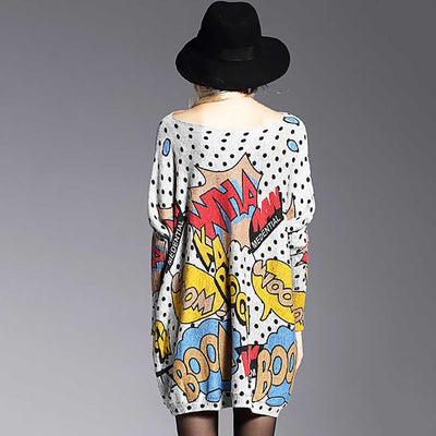 Long Sleeve Boat Neck Kitsch Graphic Print Dress