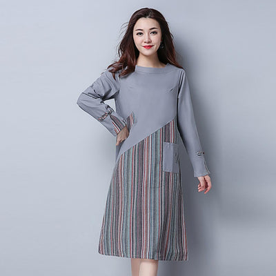 Long Sleeve Boat Neck Edgy Striped Dress