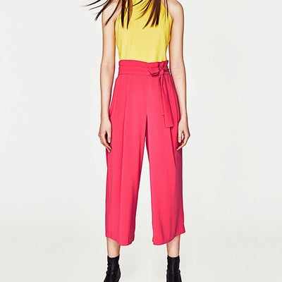 High Rise Belted Funky Plain Pants